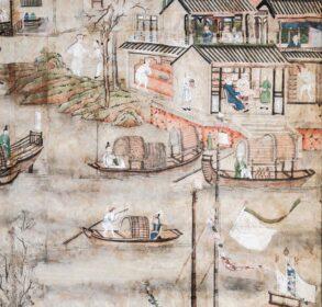 Photographie du papier peint chinois du XVIIIe siècle du pavillon dEnville du château © Château de La Roche-Guyon - réduit